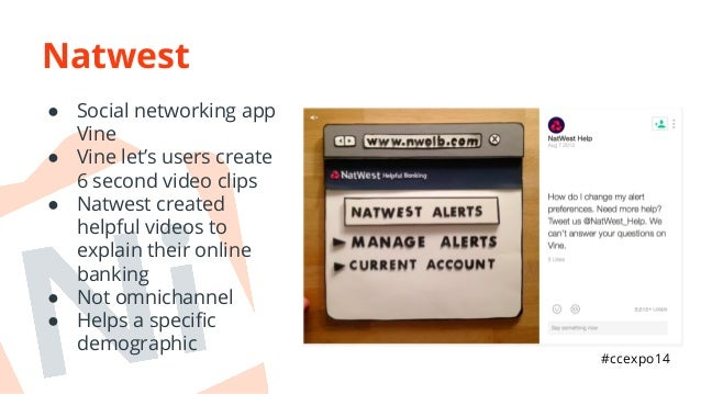 Natwest  ● Social networking app  Vine  ● Vine let's users create  6 second video clips  ● Natwest created  helpful videos...