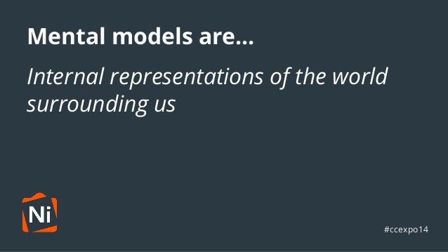 Mental models are...  Internal ●  representations of the world  surrounding us  #ccexpo14