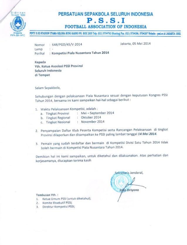Surat Rekomendasi Pelaksanaan Liga Nusantara Pssi