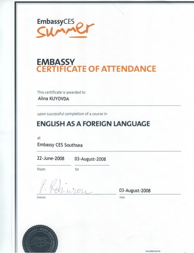 Embassy Certificate Of Attendance