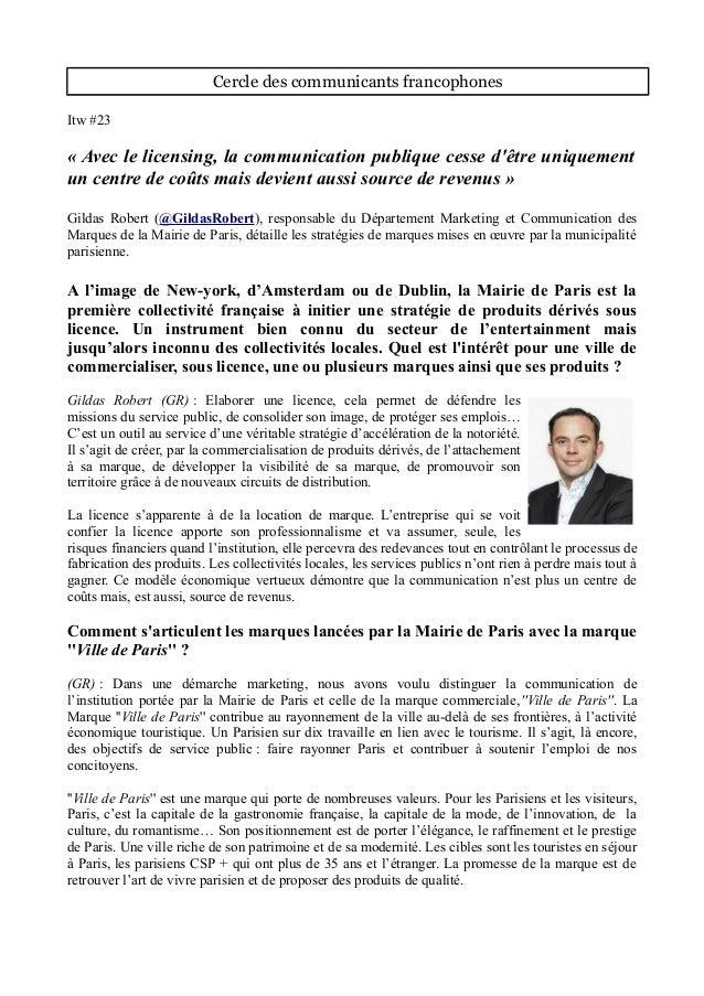 Cercle des communicants francophones Itw #23 « Avec le licensing, la communication publique cesse d'être uniquement un cen...