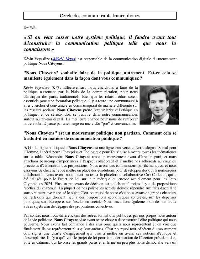 Cercle des communicants francophones Itw #24 « Si on veut casser notre système politique, il faudra avant tout déconstruir...