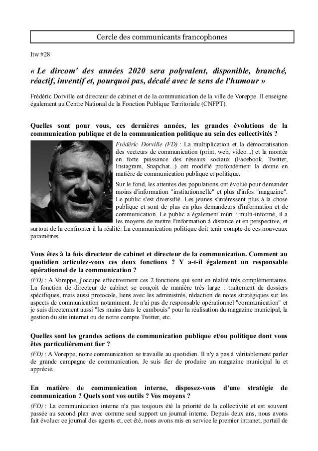 Cercle des communicants francophones Itw #28 « Le dircom' des années 2020 sera polyvalent, disponible, branché, réactif, i...