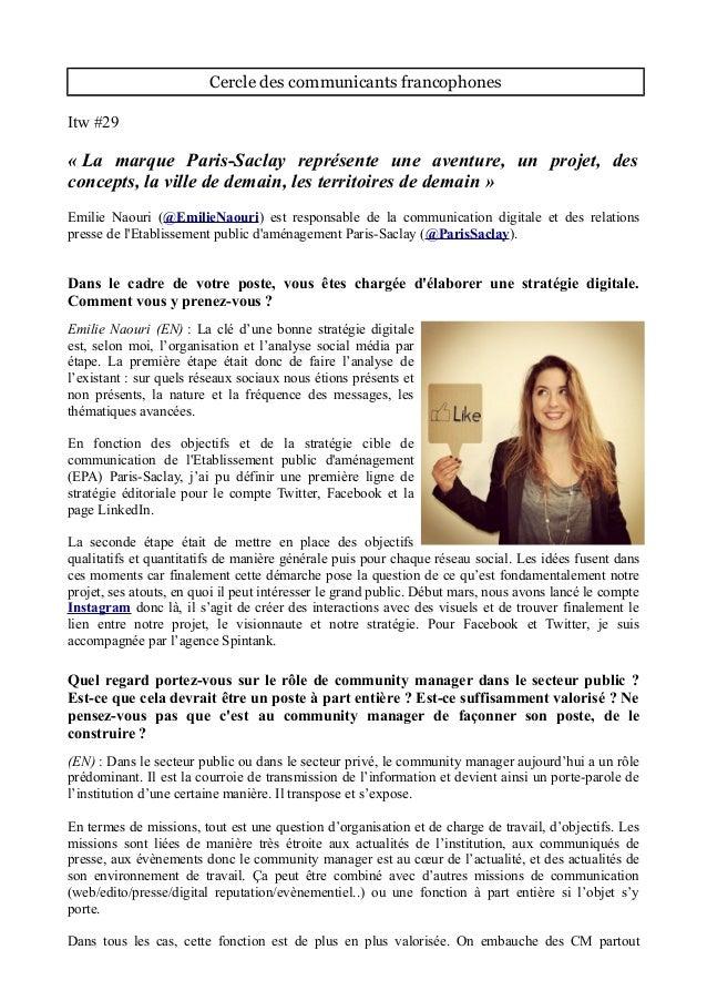 Cercle des communicants francophones Itw #29 « La marque Paris-Saclay représente une aventure, un projet, des concepts, la...