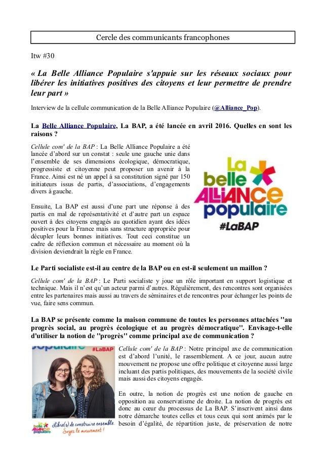 Cercle des communicants francophones Itw #30 « La Belle Alliance Populaire s'appuie sur les réseaux sociaux pour libérer l...