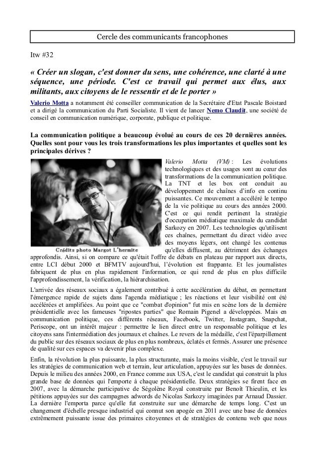 Cercle des communicants francophones Itw #32 « Créer un slogan, c'est donner du sens, une cohérence, une clarté à une séqu...