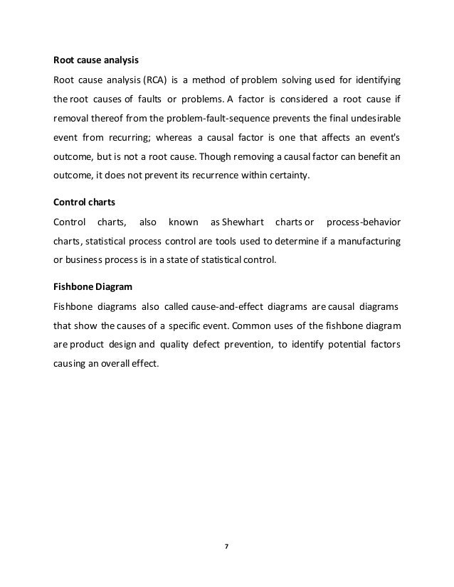 Undergraduate project written by ebere on analysis of variation in gsk 7 7 root cause analysis ccuart Choice Image