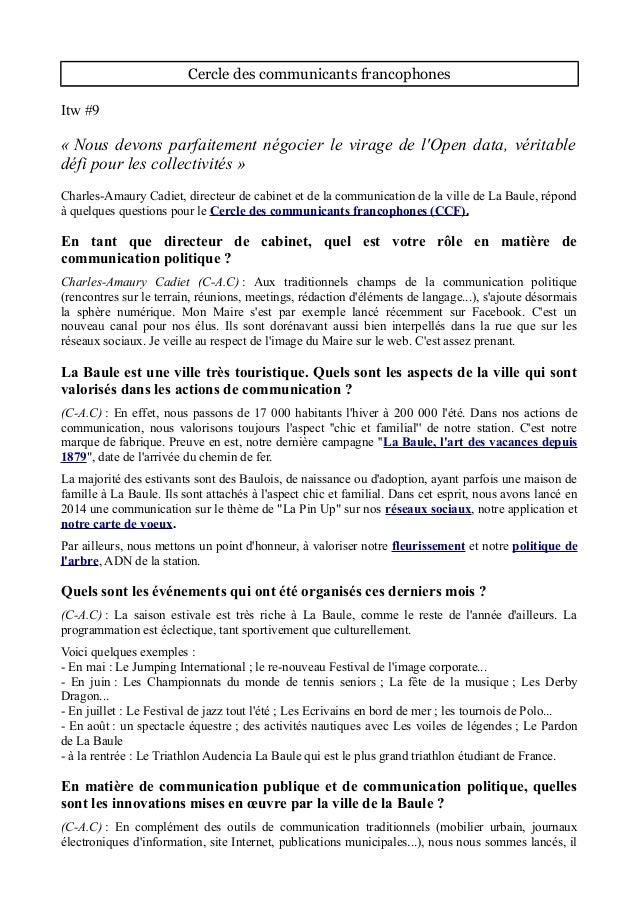 Cercle des communicants francophones Itw #9 « Nous devons parfaitement négocier le virage de l'Open data, véritable défi p...