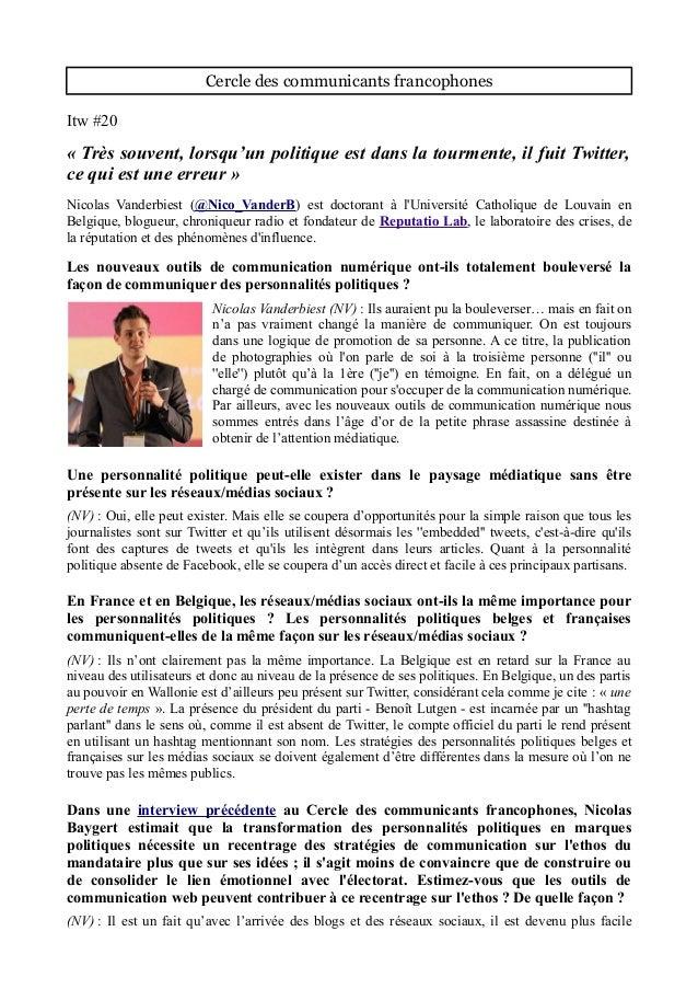 Cercle des communicants francophones Itw #20 « Très souvent, lorsqu'un politique est dans la tourmente, il fuit Twitter, c...