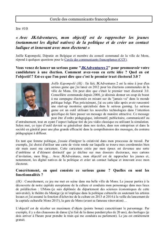 Cercle des communicants francophones Itw #10 « Avec JKAdventures, mon objectif est de rapprocher les jeunes (notamment les...