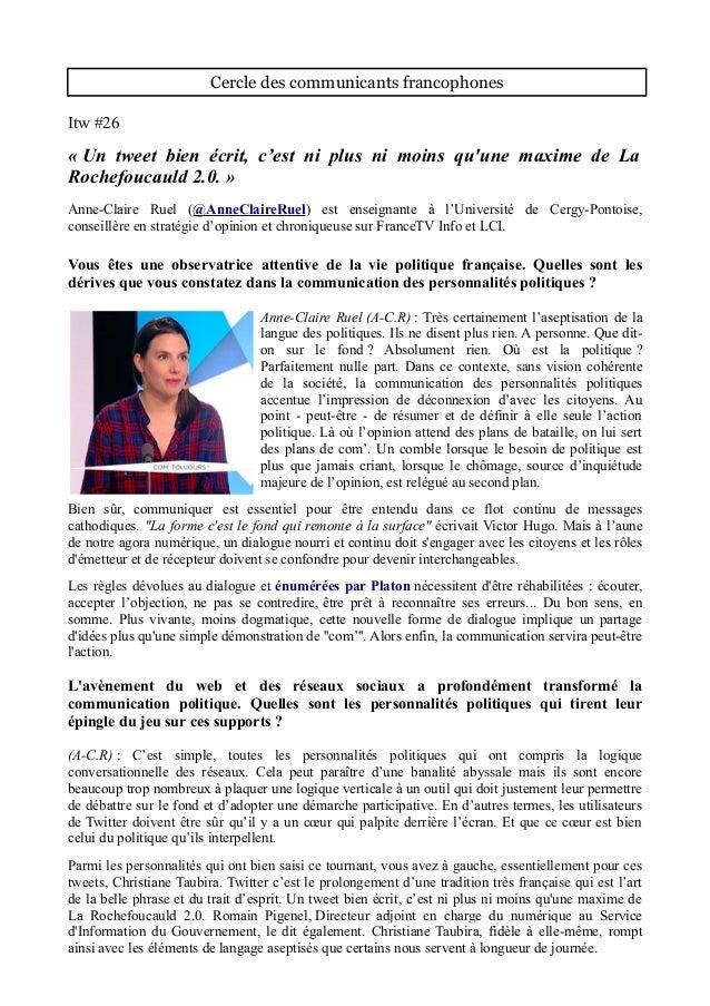 Cercle des communicants francophones Itw #26 « Un tweet bien écrit, c'est ni plus ni moins qu'une maxime de La Rochefoucau...