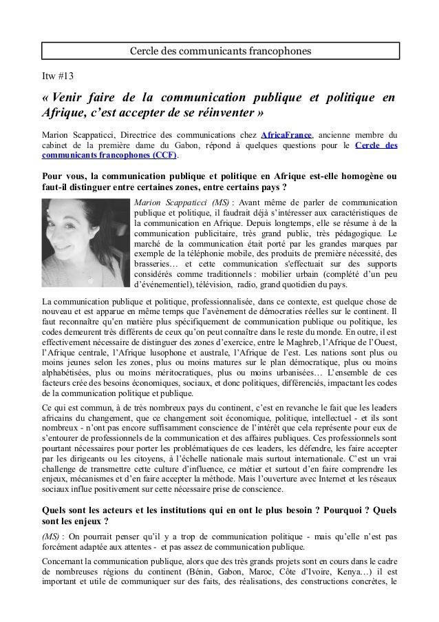 Cercle des communicants francophones Itw #13 « Venir faire de la communication publique et politique en Afrique, c'est acc...