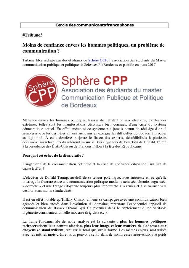 Cercle des communicants francophones #Tribune3 Moins de confiance envers les hommes politiques, un problème de communicati...