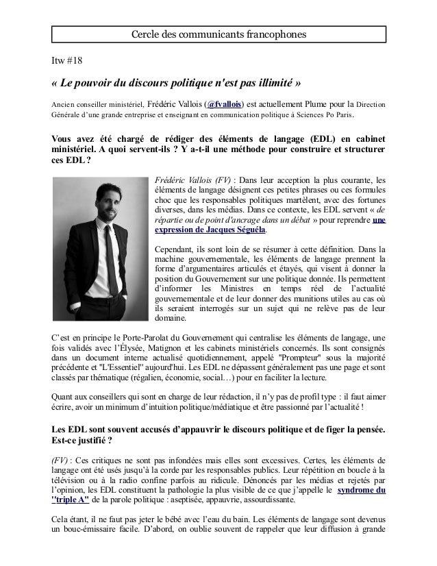 Cercle des communicants francophones Itw #18 « Le pouvoir du discours politique n'est pas illimité » Ancien conseiller min...
