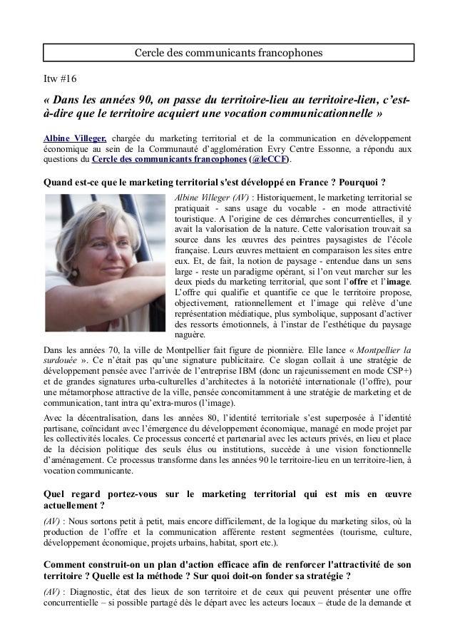 Cercle des communicants francophones Itw #16 « Dans les années 90, on passe du territoire-lieu au territoire-lien, c'est- ...