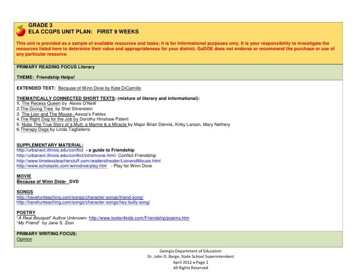 GRADE 3      ELA CCGPS UNIT PLAN: FIRST 9 WEEKSThis unit is provided as a sample of available resources and tasks; it is f...