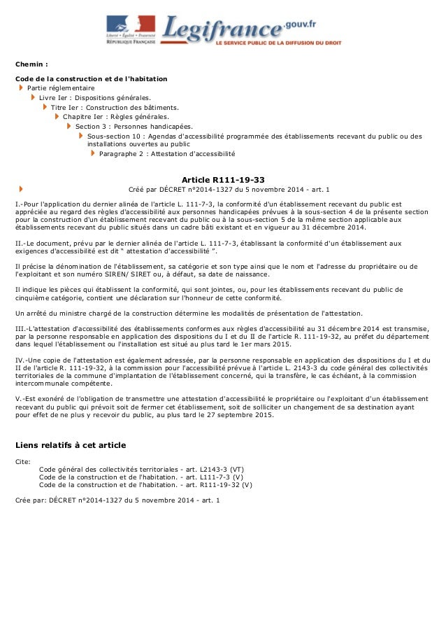 Chemin : Code de la construction et de l'habitation Partie réglementaire Livre Ier : Dispositions générales. Titre Ier : C...