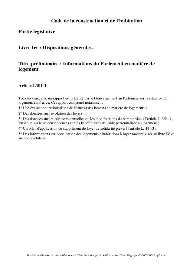Code de la construction et de l'habitation Partie législative Livre Ier : Dispositions générales. Titre préliminaire : Inf...