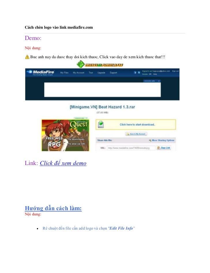 Cách chèn logo vào link mediafire.comDemo:Nội dung:   Buc anh nay da duoc thay doi kich thuoc, Click vao day de xem kich t...