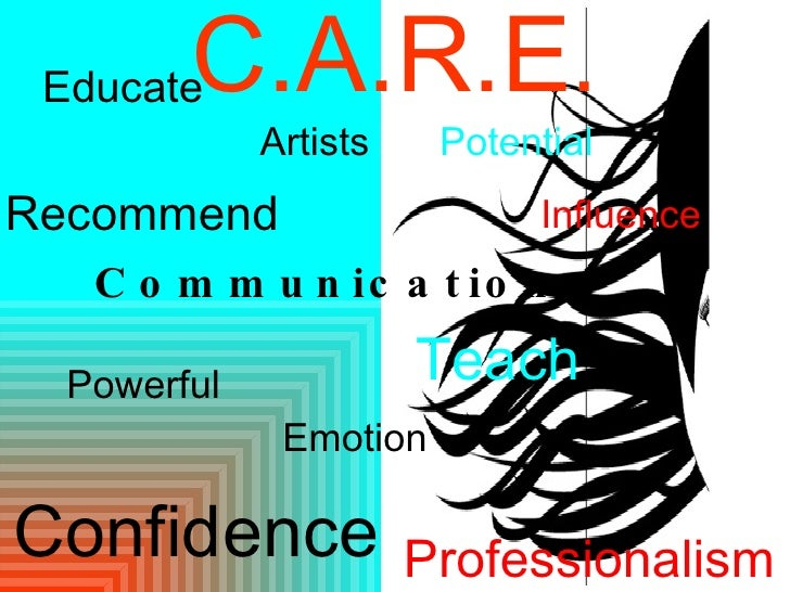 C.A.R.E . Communication Influence Educate Powerful Artists Emotion Recommend Teach Professionalism Potential Confidence