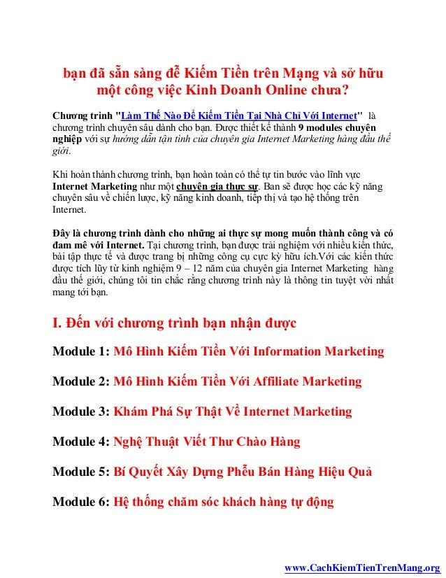Cách kiếm tiền trên mạng - Kiếm tiền tại nhà với internet Slide 2