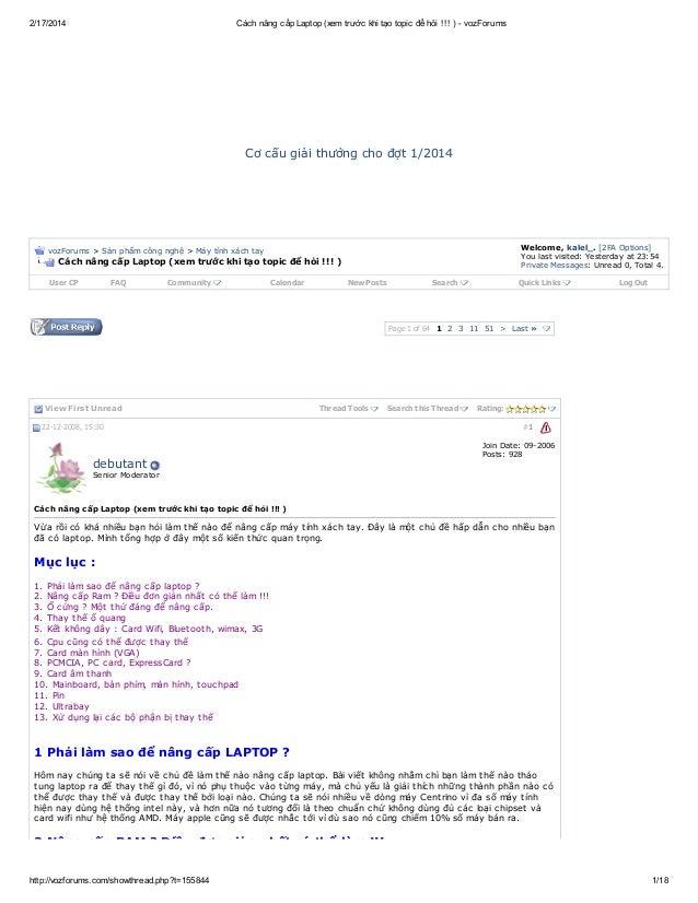 2/17/2014  Cách nâng cấp Laptop (xem trước khi tạo topic để hỏi !!! ) - vozForums  C c ugả tư n c ođ t / 0 4 ơ ấ iih ở g h...
