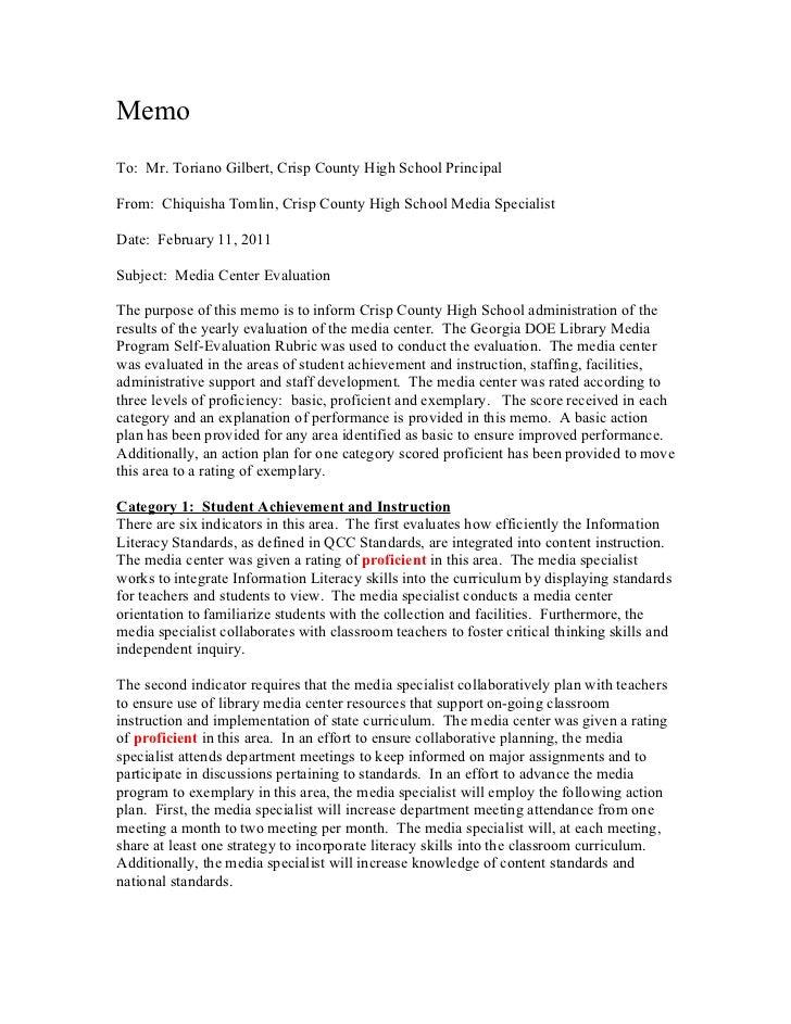 MemoTo: Mr. Toriano Gilbert, Crisp County High School PrincipalFrom: Chiquisha Tomlin, Crisp County High School Media Spec...