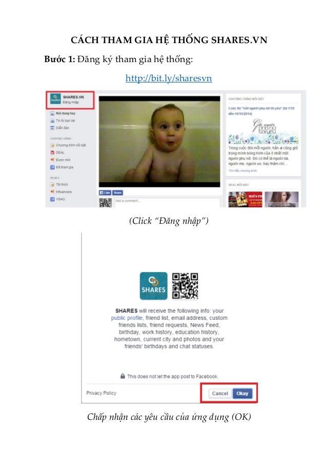 """CÁCH THAM GIA HỆ THỐNG SHARES.VN  Bước 1: Đăng ký tham gia hệ thống:  http://bit.ly/sharesvn  (Click """"Đăng nhập"""")  Chấp nh..."""