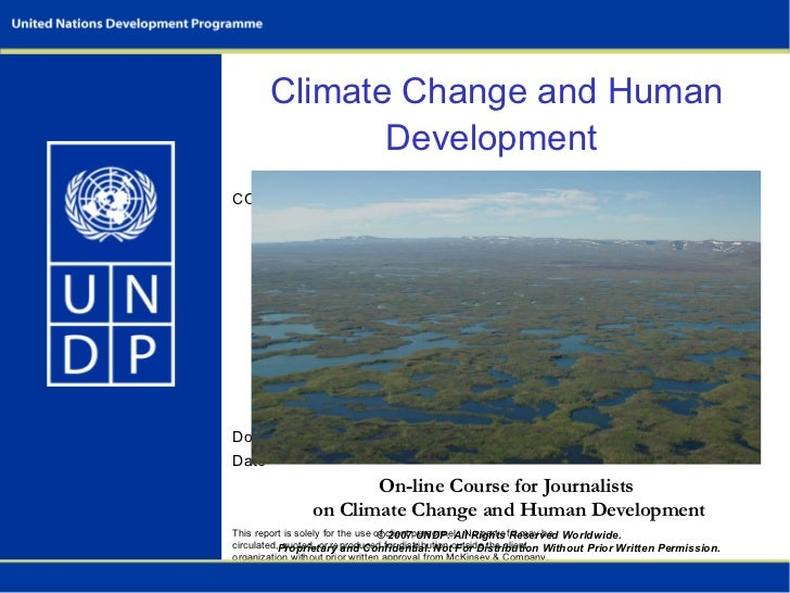 Climate Change and Human Development (On-line Course for Journalists), UNDP