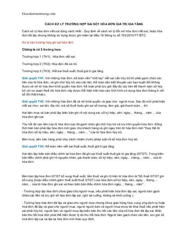 Giasuketoantruong.com CÁCH XỬ LÝ TRƢỜNG HỢP SAI SÓT HÓA ĐƠN GIÁ TRỊ GIA TĂNG Cách xử lý hóa đơn viết sai đúng cách nhất . ...