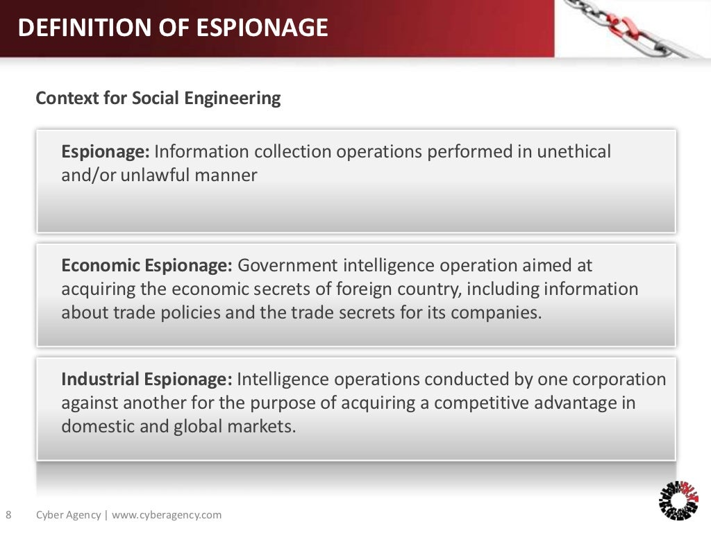 definition of espionage context for