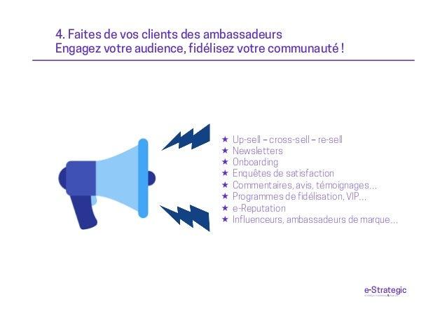 4. Faites de vos clients des ambassadeurs Engagez votre audience, fidélisez votre communauté ! « Up-sell – cross-sell – r...
