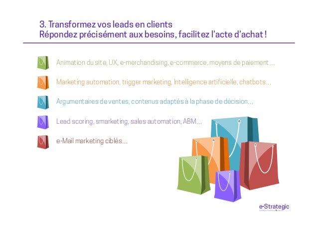 3. Transformez vos leads en clients Répondez précisément aux besoins, facilitez l'acte d'achat ! Marketing automation, tri...