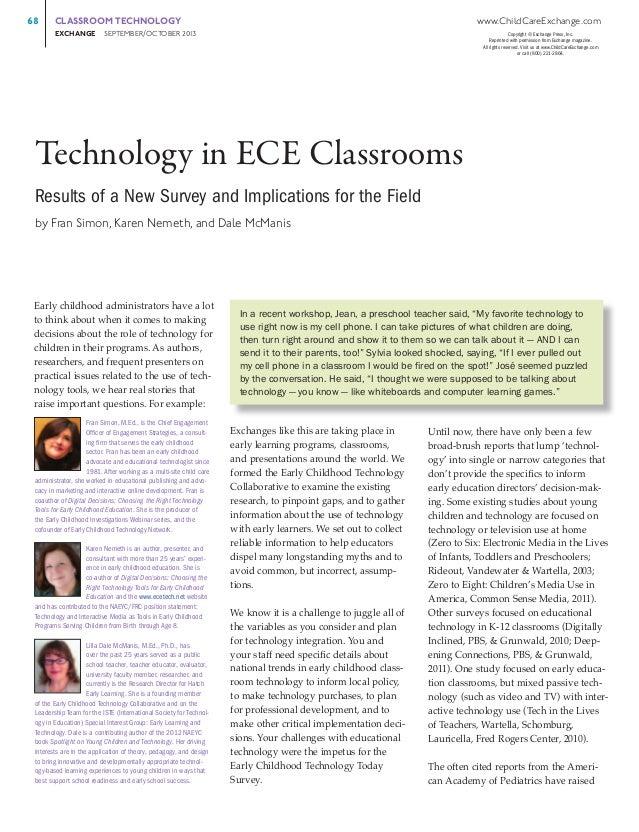 68   CLASSROOM TECHNOLOGY  www.ChildCareExchange.com  EXCHANGE     SEPTEMBER/OCTOBER 201 3  Copyright © Exchange Press,...