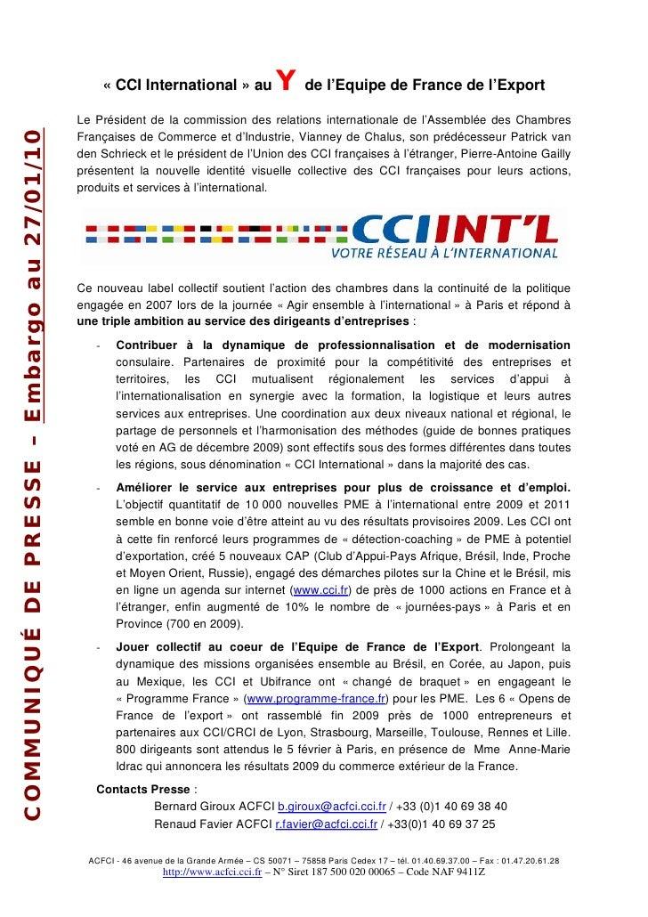 « CCI International » au                Yde l'Equipe de France de l'Export                                          Le Pré...