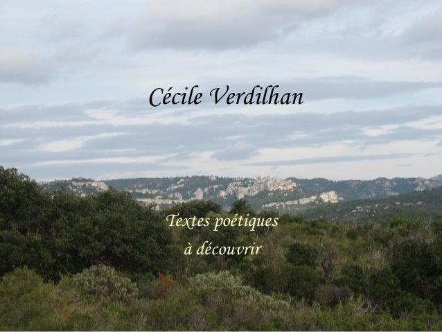 Cécile Verdilhan Textes poétiques à découvrir