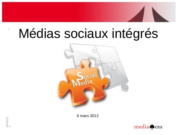 06/03/201 2 1 Médias!sociaux!intégrés 6!mars!2012