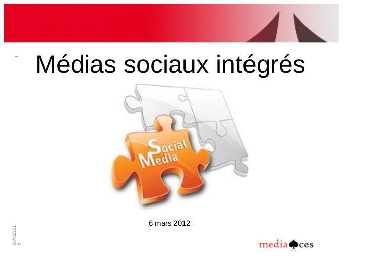 Médias!sociaux!intégrés  1                     6!mars!201206/03/2012