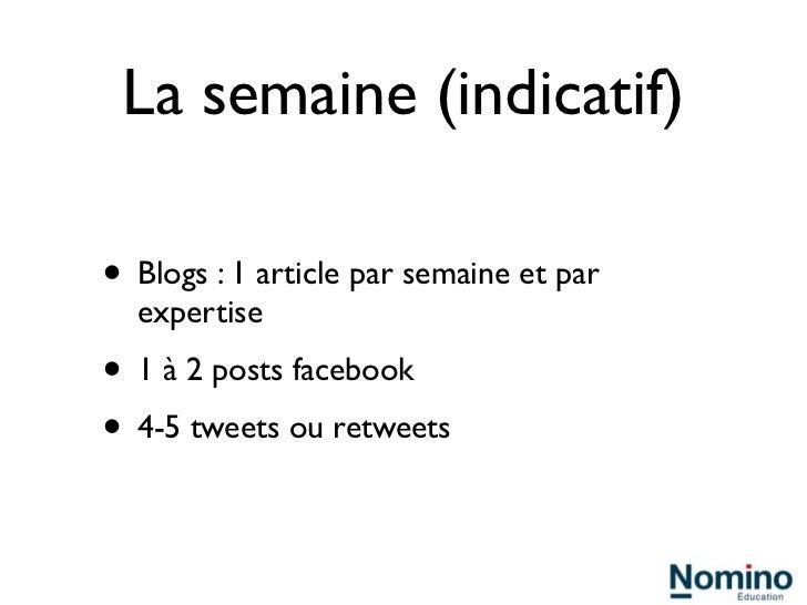 La semaine (indicatif)• Blogs : 1 article par semaine et par  expertise• 1 à 2 posts facebook• 4-5 tweets ou retweets