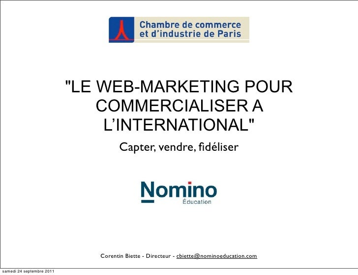 """LE WEB-MARKETING POUR                               COMMERCIALISER A                                L'INTERNATIONAL""     ..."