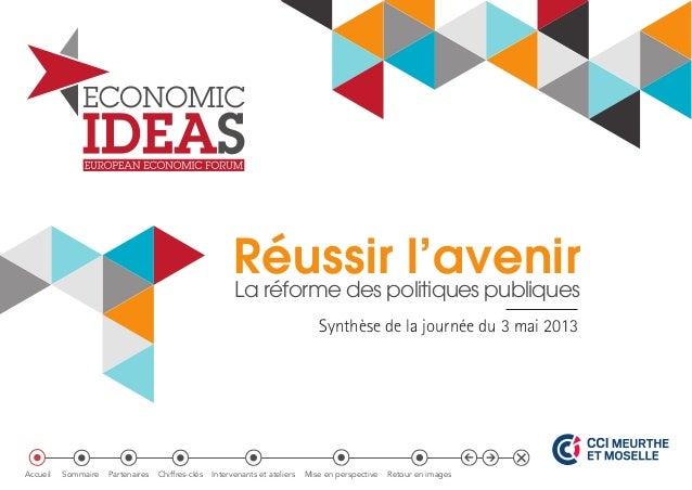 Réussir l'avenir La réforme des politiques publiques Synthèse de la journée du 3 mai 2013 Accueil Sommaire Partenaires Chi...