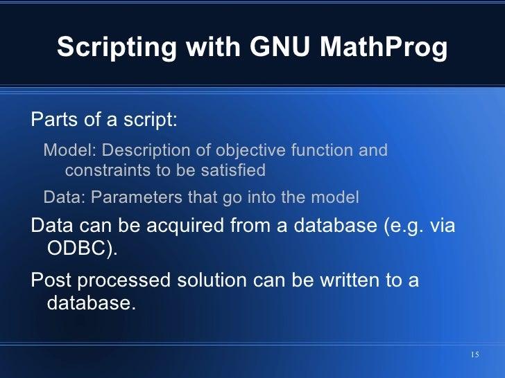 Applying Linear Optimization Using GLPK