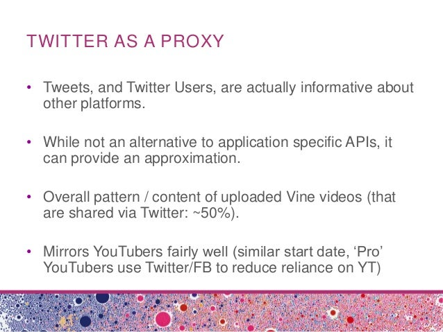 TWITTER AS A PROXY• Tweets, and Twitter Users, are actually informative aboutother platforms.• While not an alternative to...