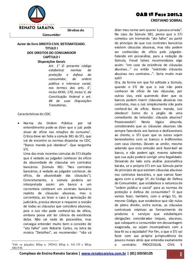 OAB 1ª Fase 2011.2 CRISTIANO SOBRAL Complexo de Ensino Renato Saraiva | www.renatosaraiva.com.br | (81) 30350105 kr 1 Dire...