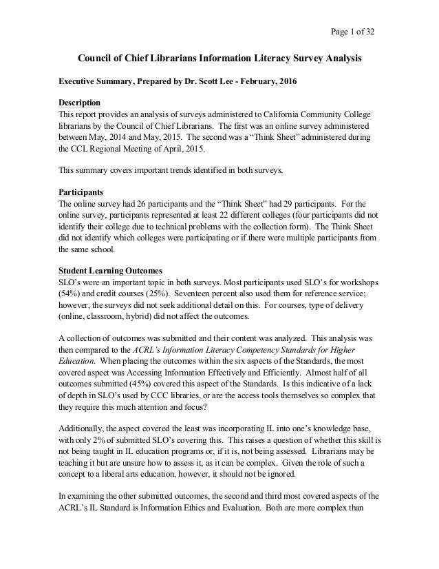 Page 1 of 32   Council of Chief Librarians Information Literacy Survey Analysis Executive Summary, Prepared by Dr...