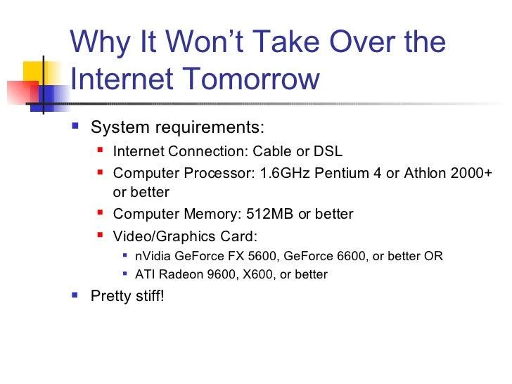 Why It Won't Take Over the Internet Tomorrow <ul><li>System requirements: </li></ul><ul><ul><li>Internet Connection: Cable...
