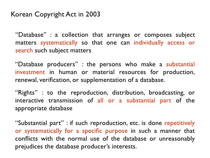 """Korean Copyright Act in 2003 """"Database"""" : a collection that arranges or composes subject matters systematically so that on..."""