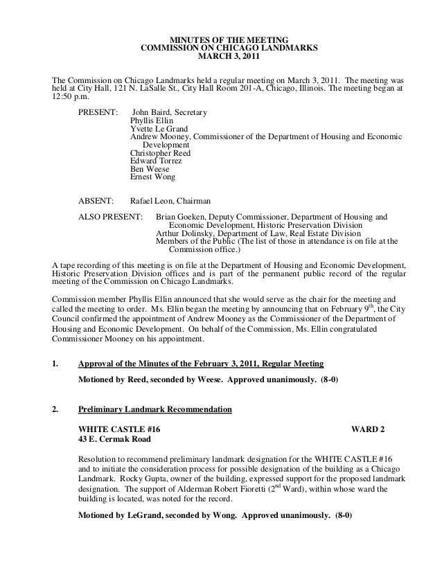 MINUTES OF THE MEETING                         COMMISSION ON CHICAGO LANDMARKS                                   MARCH 3, ...