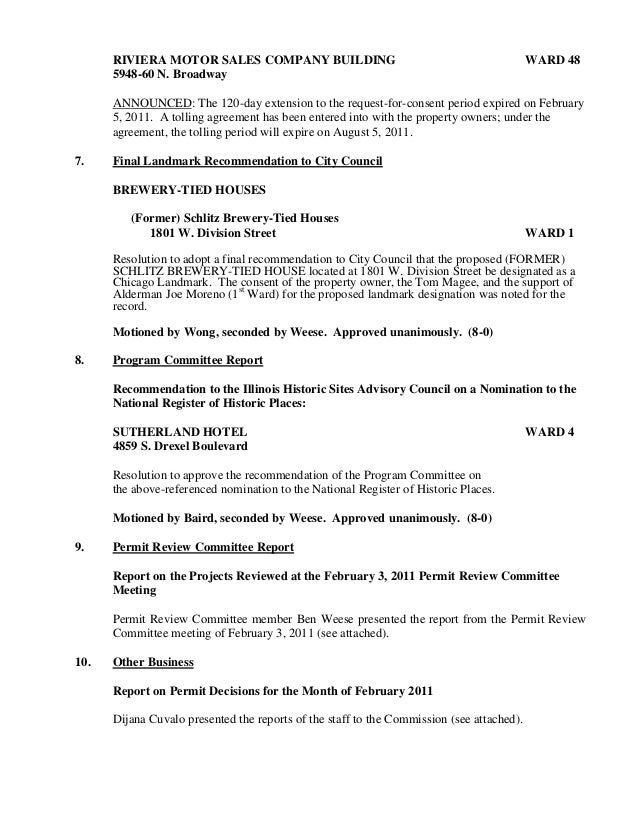 Minutes Of The Meeting Of The Commission On Chicago Landmarks, March …