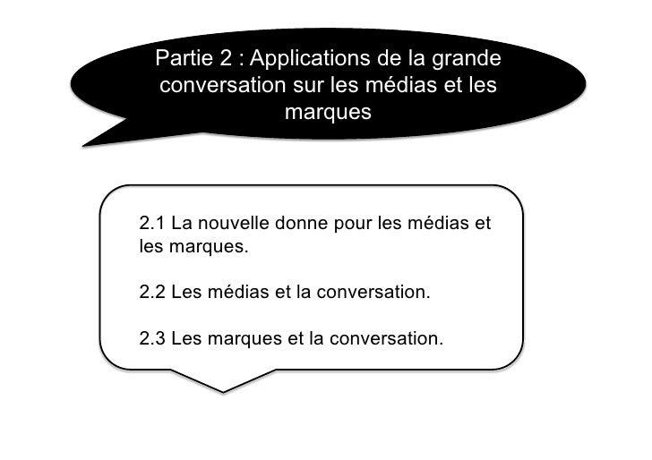 Partie 2 : Applications de la grande  conversation sur les médias et les                marques    2.1 La nouvelle donne p...